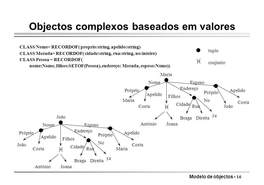Objectos complexos baseados em valores