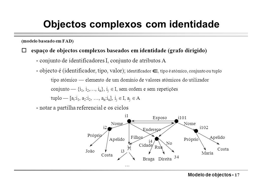 Objectos complexos com identidade