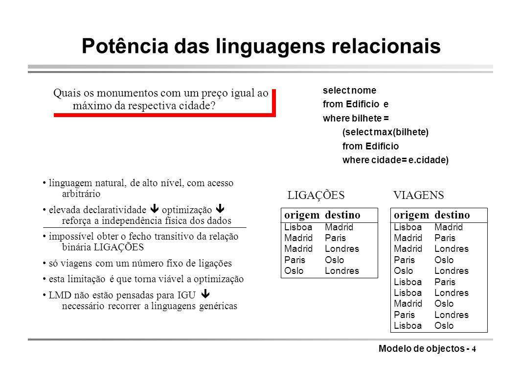 Potência das linguagens relacionais