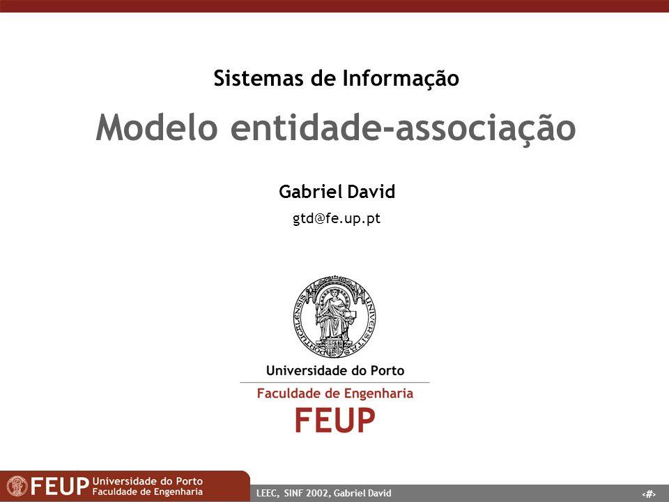 Sistemas de Informação Modelo entidade-associação