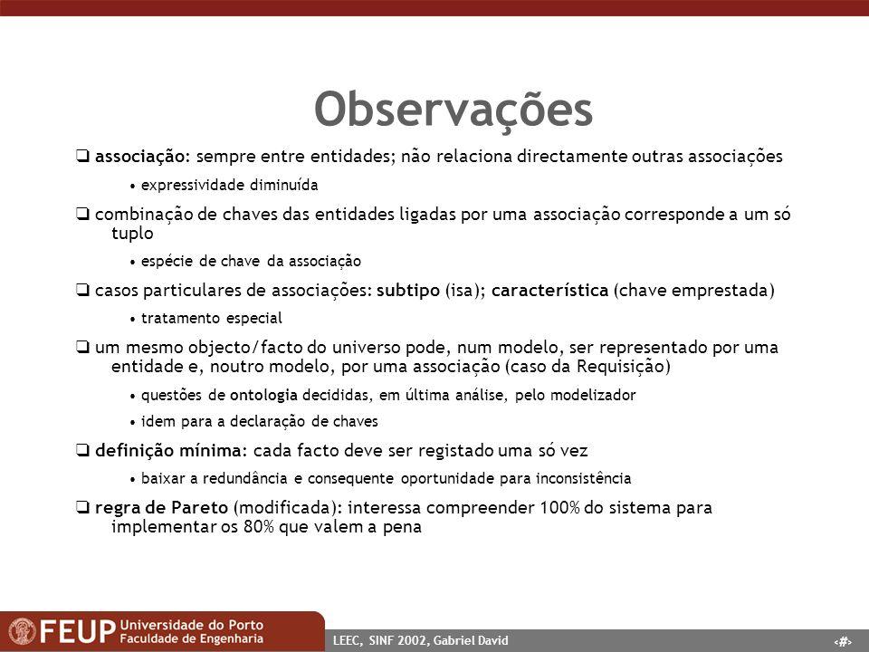 Observações  associação: sempre entre entidades; não relaciona directamente outras associações. • expressividade diminuída.