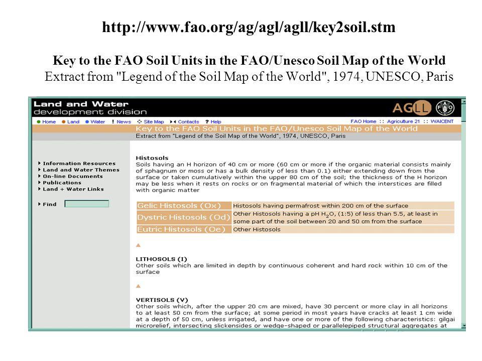 http://www. fao. org/ag/agl/agll/key2soil