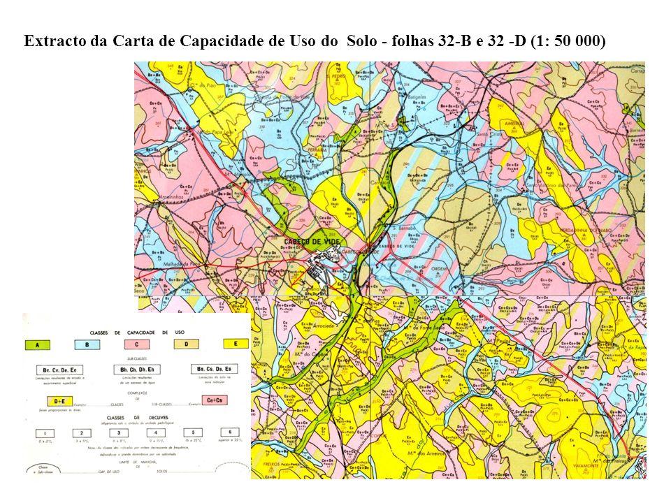 Extracto da Carta de Capacidade de Uso do Solo - folhas 32-B e 32 -D (1: 50 000)