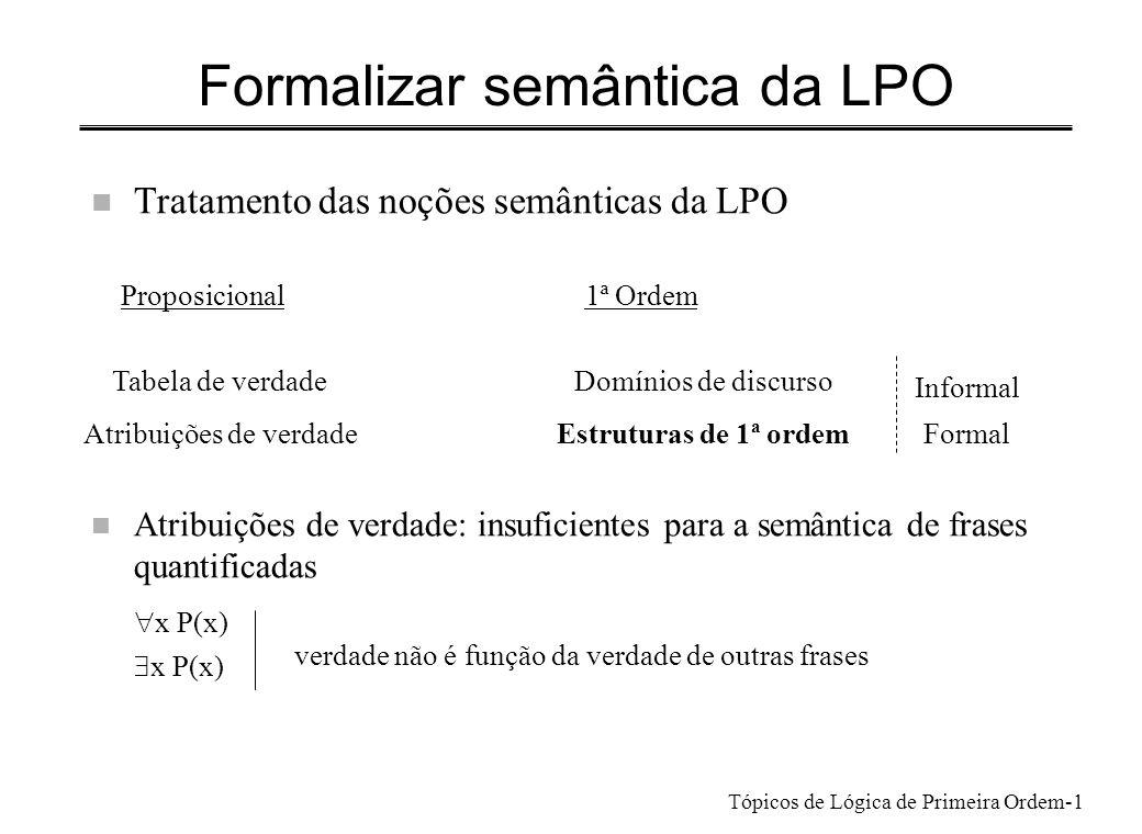 Formalizar semântica da LPO