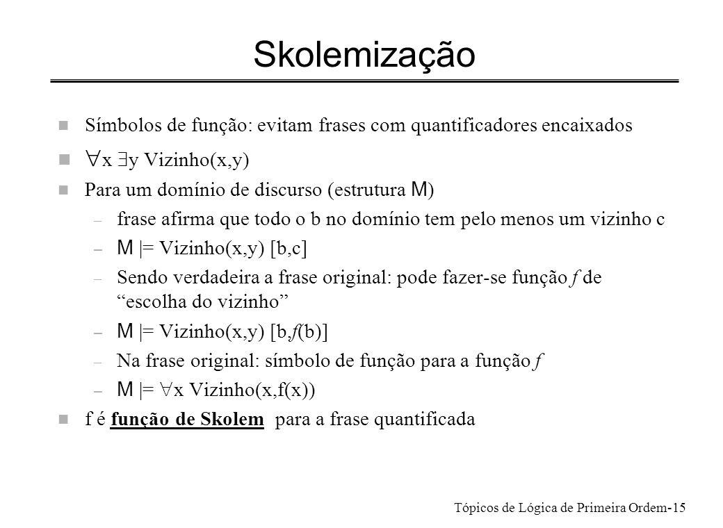 Skolemização x $y Vizinho(x,y)