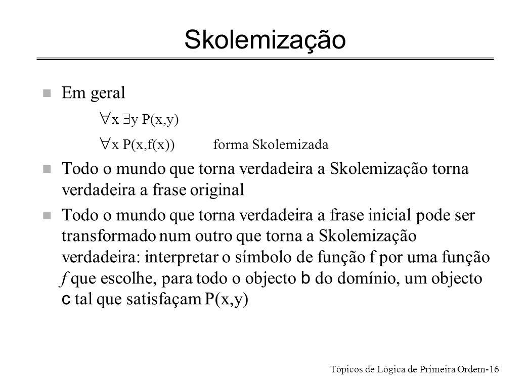 Skolemização Em geral x $y P(x,y) x P(x,f(x)) forma Skolemizada