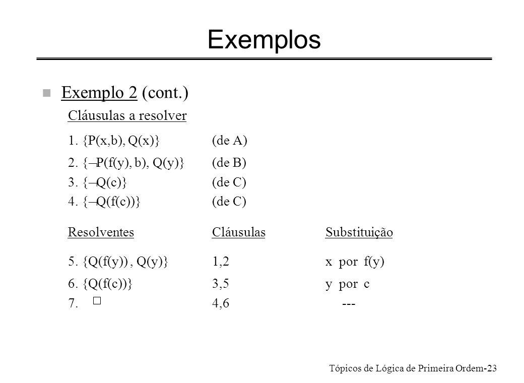 Exemplos Exemplo 2 (cont.) Cláusulas a resolver