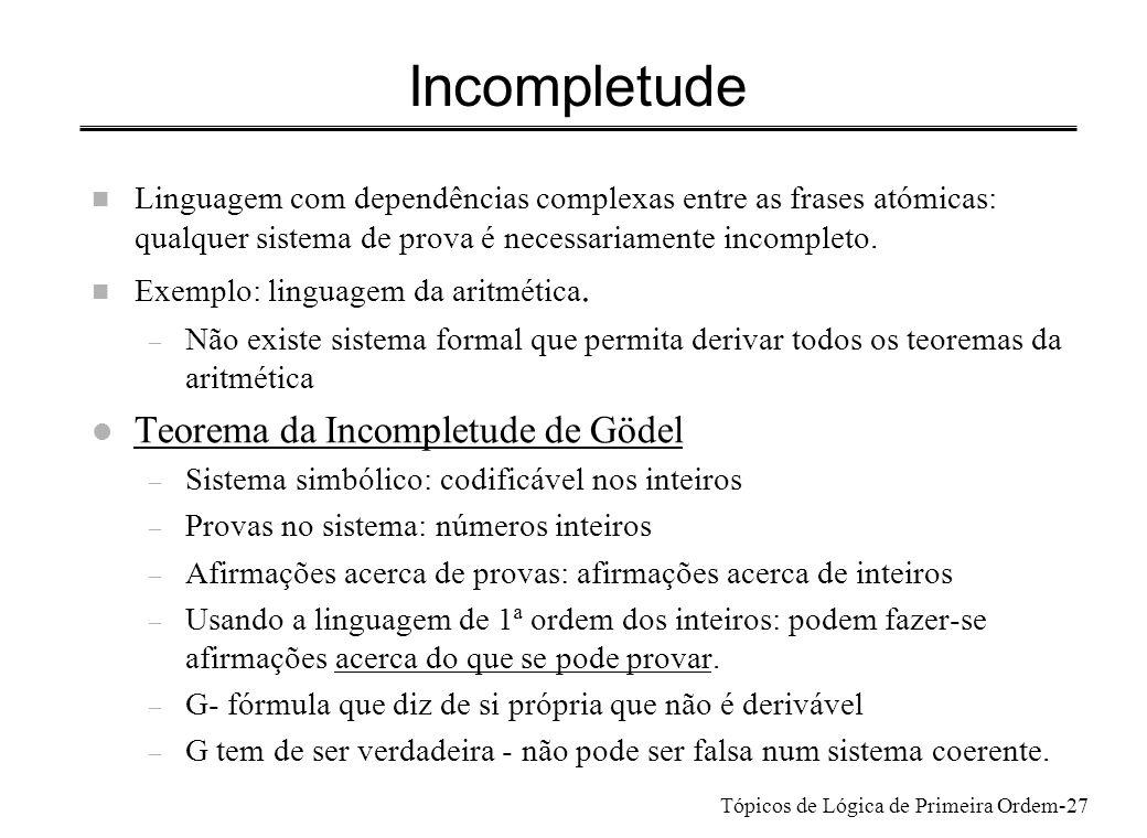 Incompletude Teorema da Incompletude de Gödel