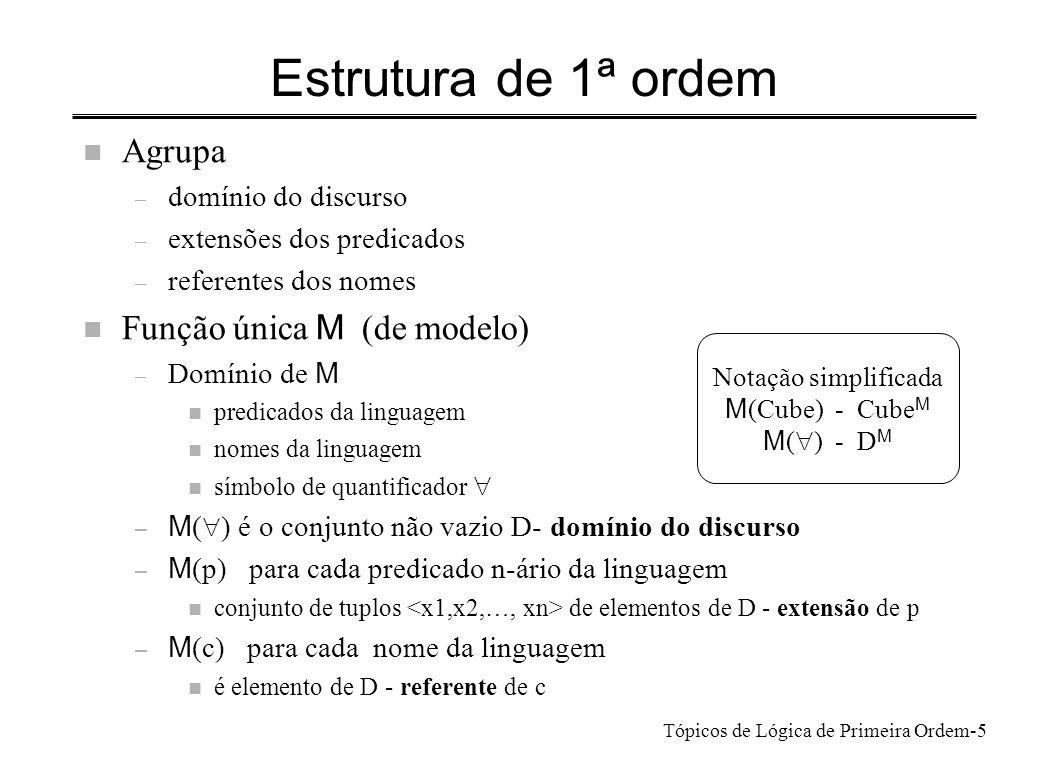 Estrutura de 1ª ordem Agrupa Função única M (de modelo)