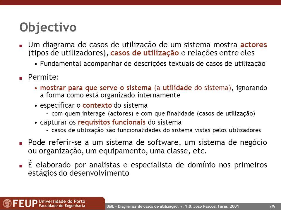 Objectivo Um diagrama de casos de utilização de um sistema mostra actores (tipos de utilizadores), casos de utilização e relações entre eles.