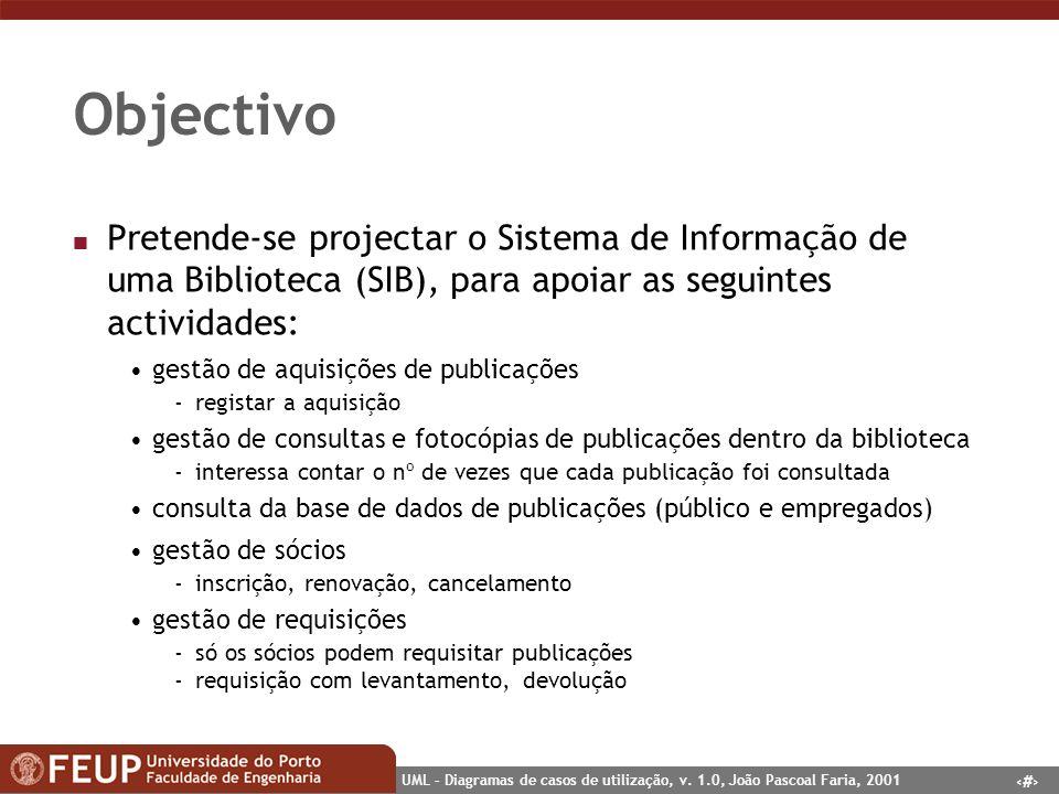Objectivo Pretende-se projectar o Sistema de Informação de uma Biblioteca (SIB), para apoiar as seguintes actividades: