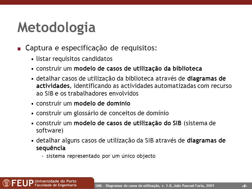 Metodologia Captura e especificação de requisitos: