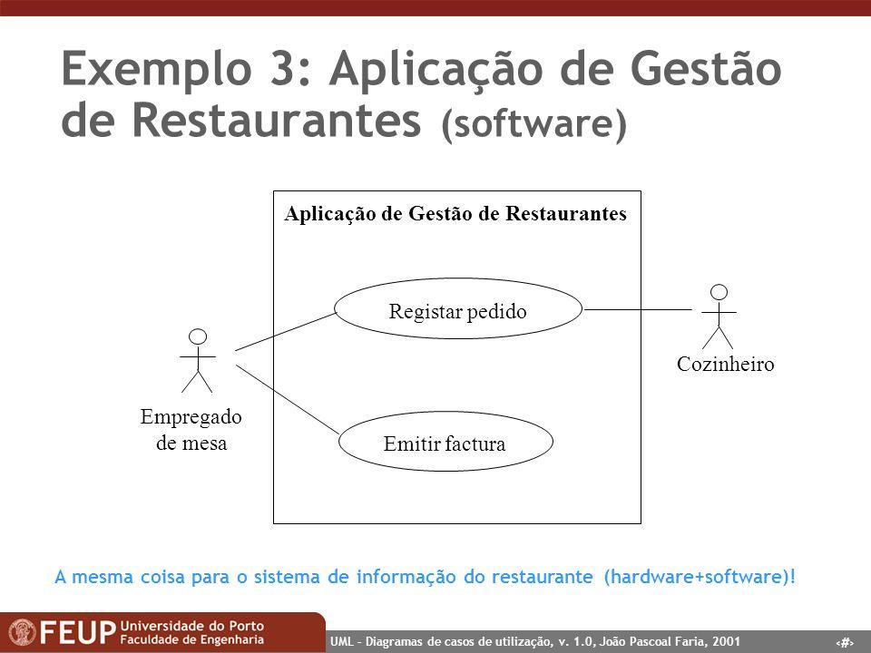 Exemplo 3: Aplicação de Gestão de Restaurantes (software)