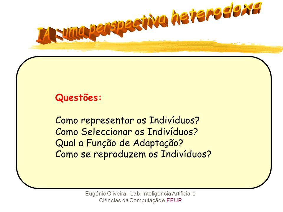 Questões: Como representar os Indivíduos Como Seleccionar os Indivíduos Qual a Função de Adaptação