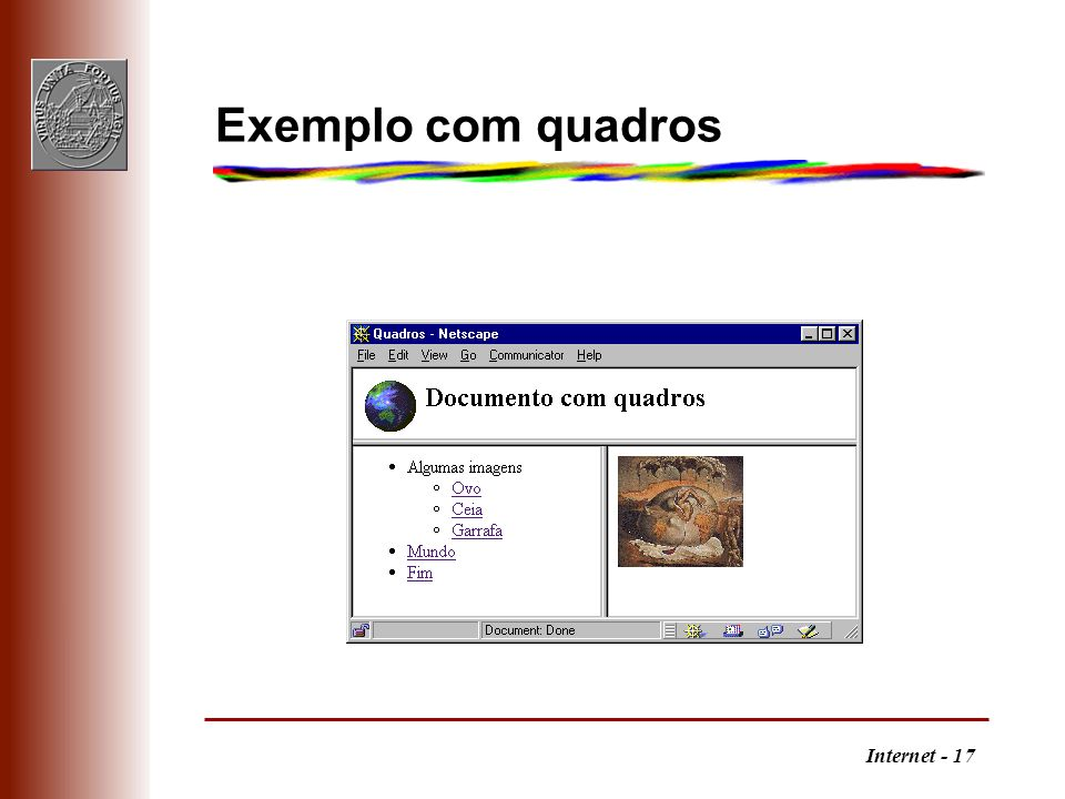 Exemplo com quadros