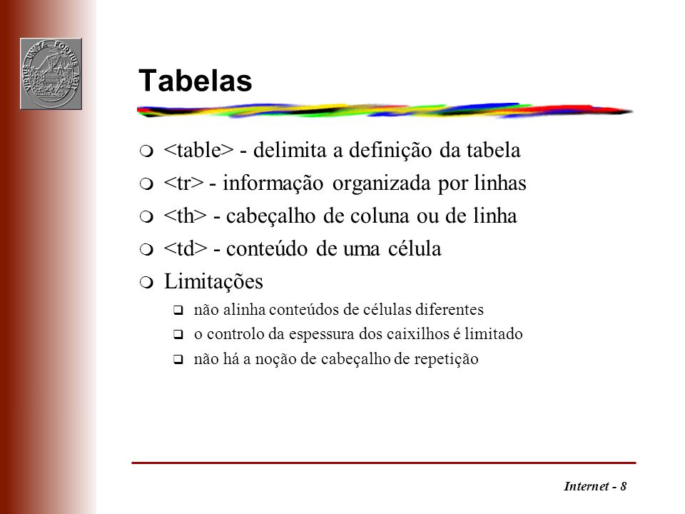 Tabelas <table> - delimita a definição da tabela