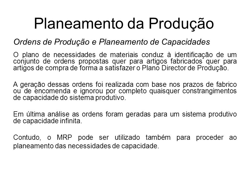 Planeamento da Produção