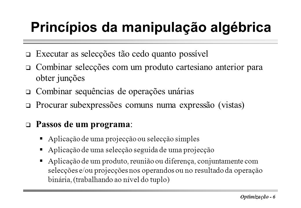 Princípios da manipulação algébrica