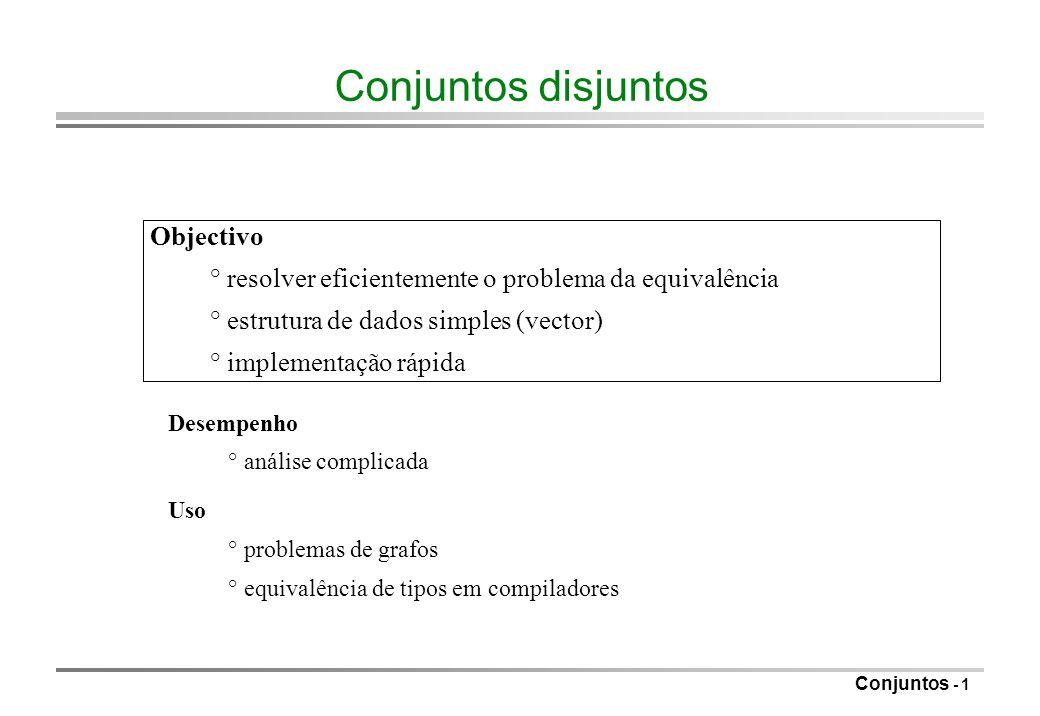 Conjuntos disjuntos Objectivo