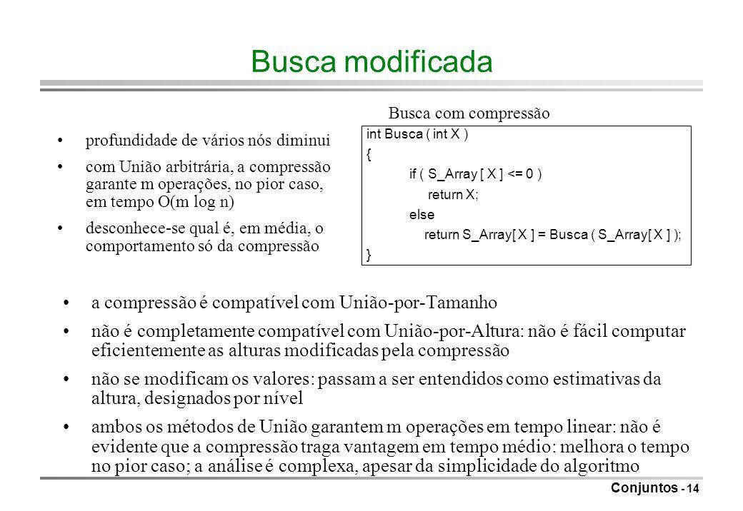 Busca modificada a compressão é compatível com União-por-Tamanho