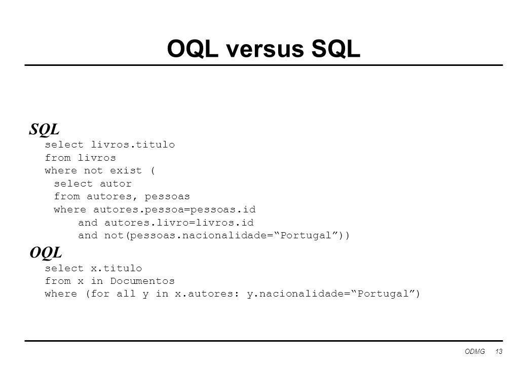 OQL versus SQL SQL OQL select livros.titulo from livros