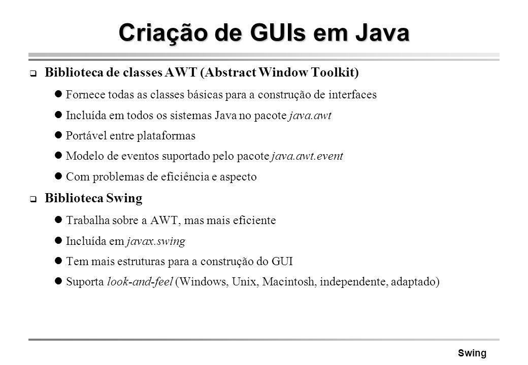 Criação de GUIs em Java Biblioteca de classes AWT (Abstract Window Toolkit) Fornece todas as classes básicas para a construção de interfaces.