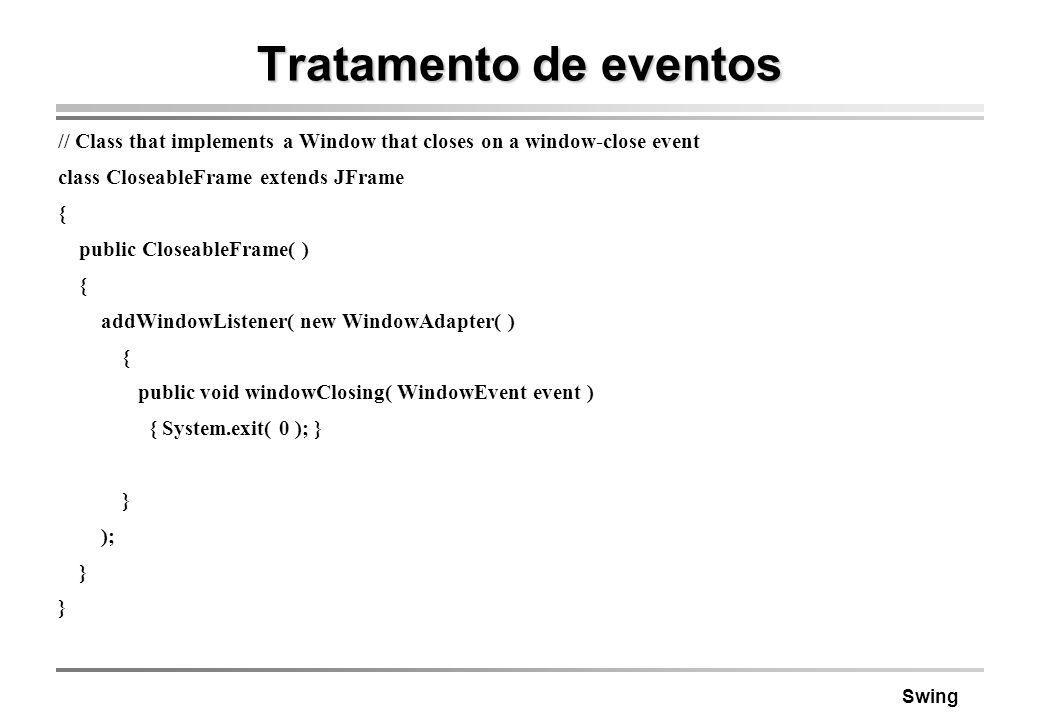 Tratamento de eventos // Class that implements a Window that closes on a window-close event. class CloseableFrame extends JFrame.