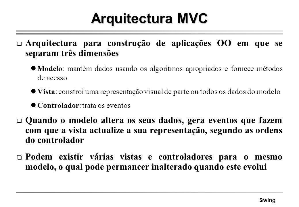 Arquitectura MVC Arquitectura para construção de aplicações OO em que se separam três dimensões.
