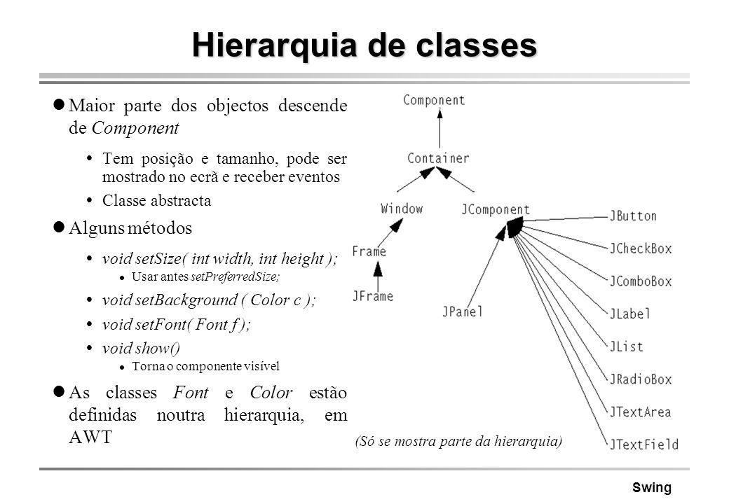 Hierarquia de classes Maior parte dos objectos descende de Component