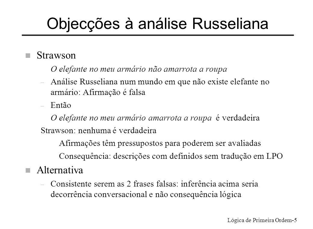 Objecções à análise Russeliana