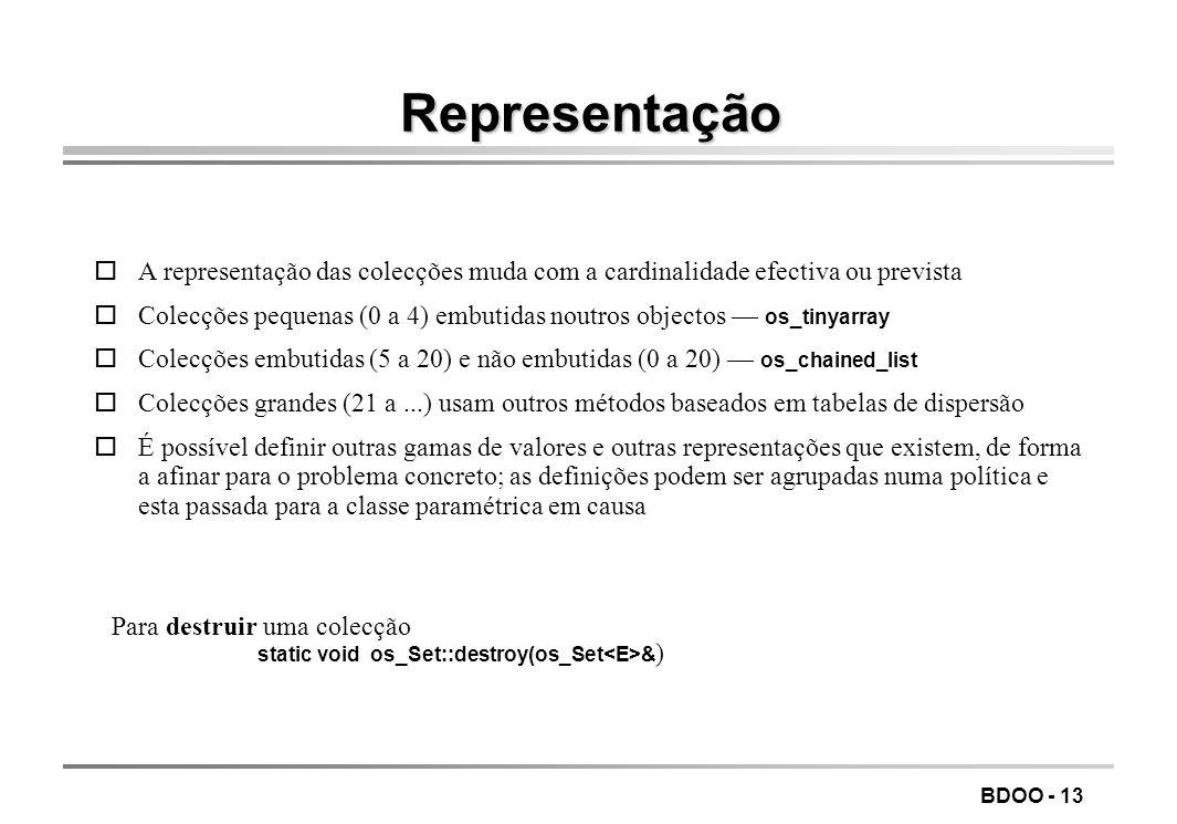 LEIC/FEUP Tecnologia de Sistemas de Gestão de Bases de Dados. Representação.