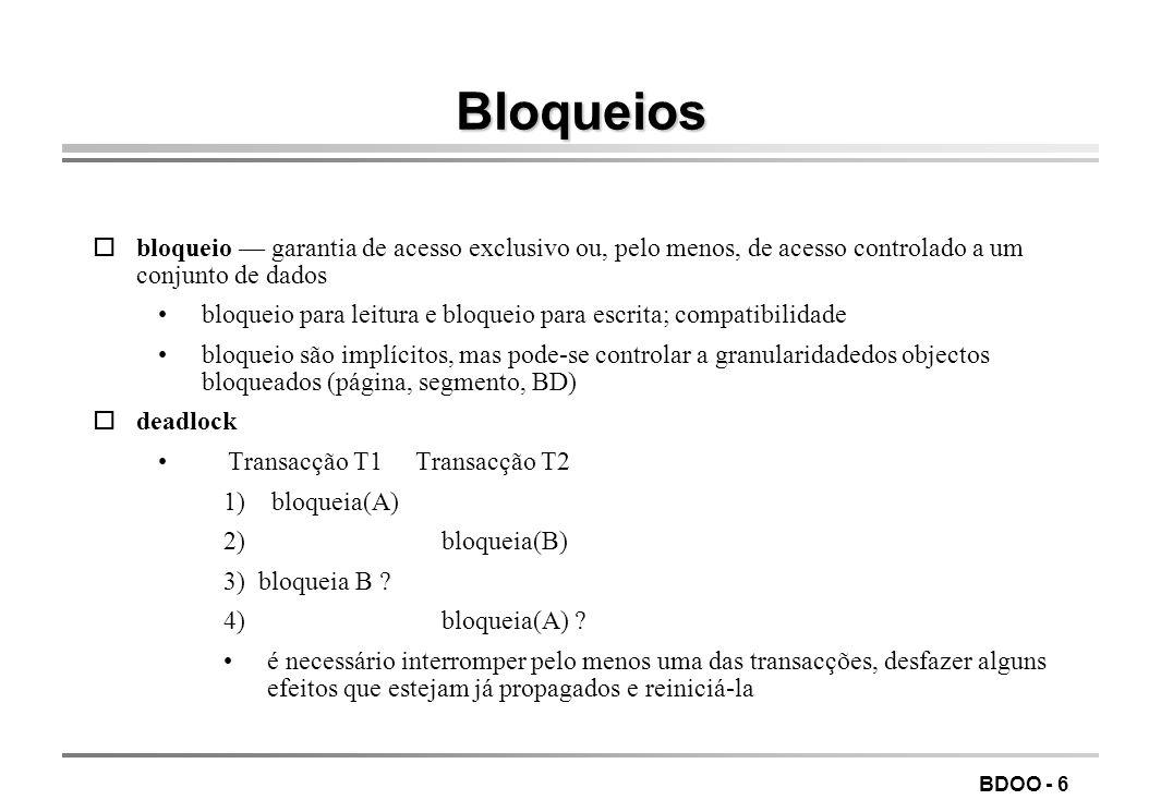LEIC/FEUP Tecnologia de Sistemas de Gestão de Bases de Dados. Bloqueios.