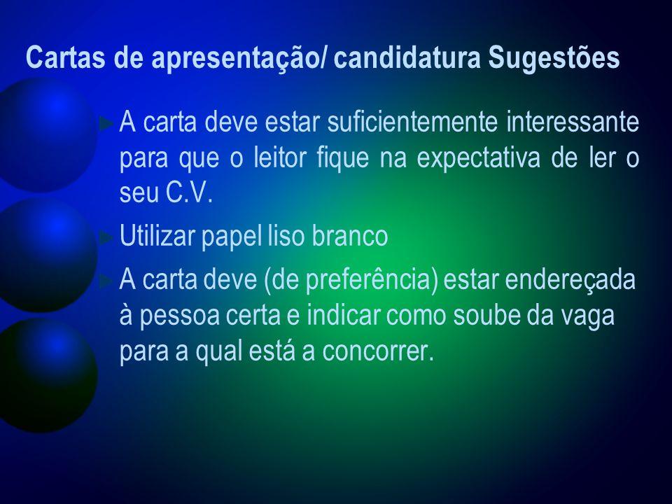 Cartas de apresentação/ candidatura Sugestões