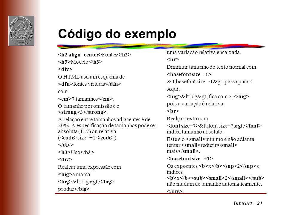 Código do exemplo uma variação relativa encaixada. <br>