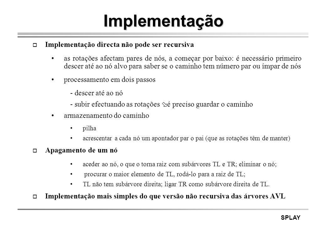 Implementação Implementação directa não pode ser recursiva