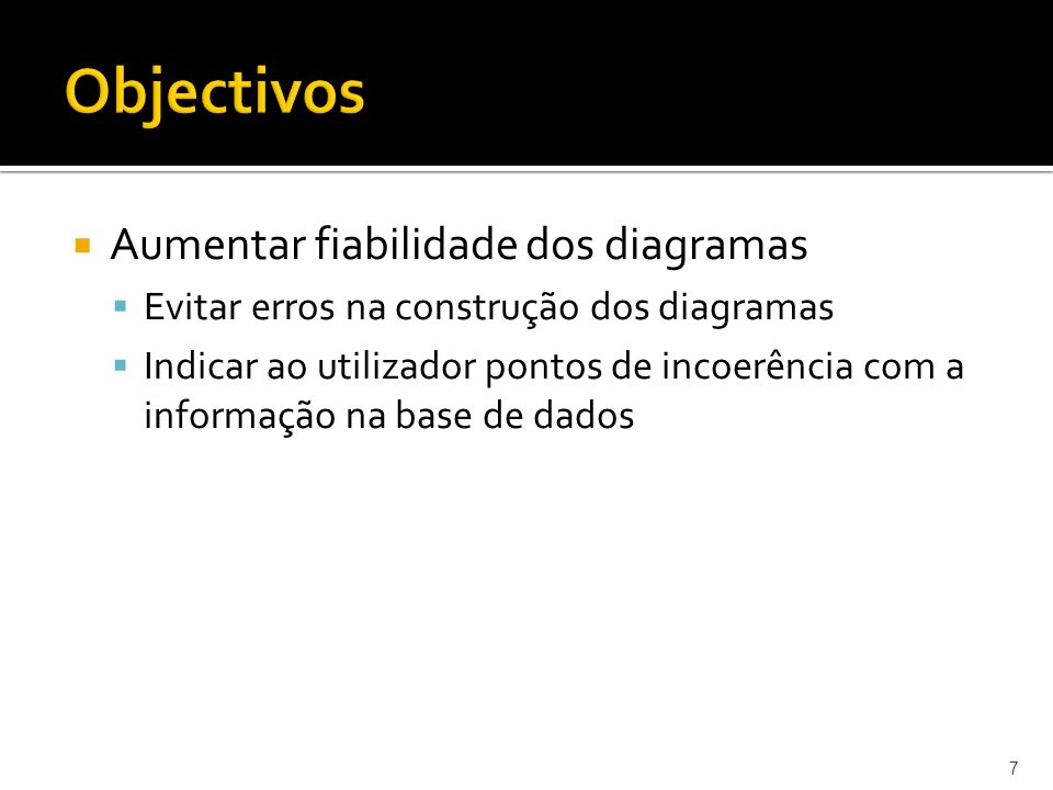 Objectivos Aumentar fiabilidade dos diagramas