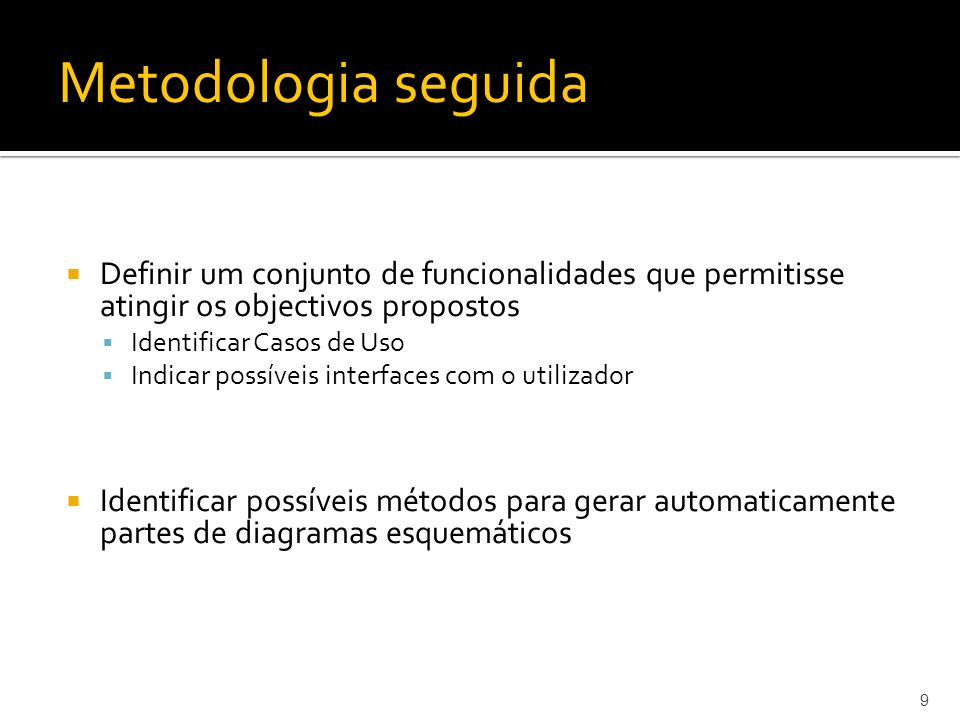 Metodologia seguida Definir um conjunto de funcionalidades que permitisse atingir os objectivos propostos.
