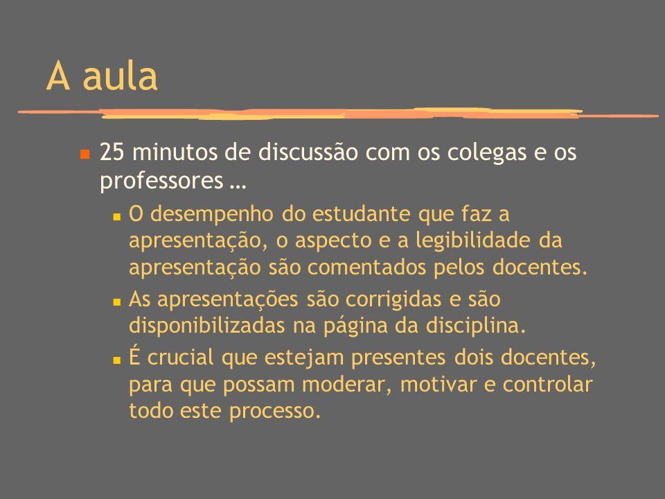 A aula 25 minutos de discussão com os colegas e os professores …