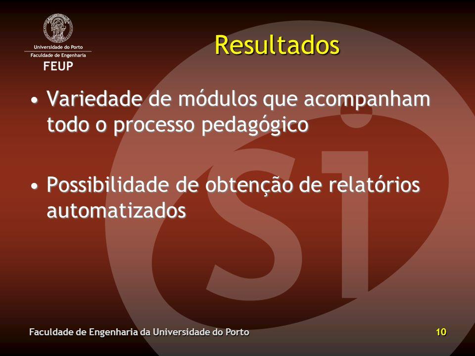 Resultados Variedade de módulos que acompanham todo o processo pedagógico. Possibilidade de obtenção de relatórios automatizados.