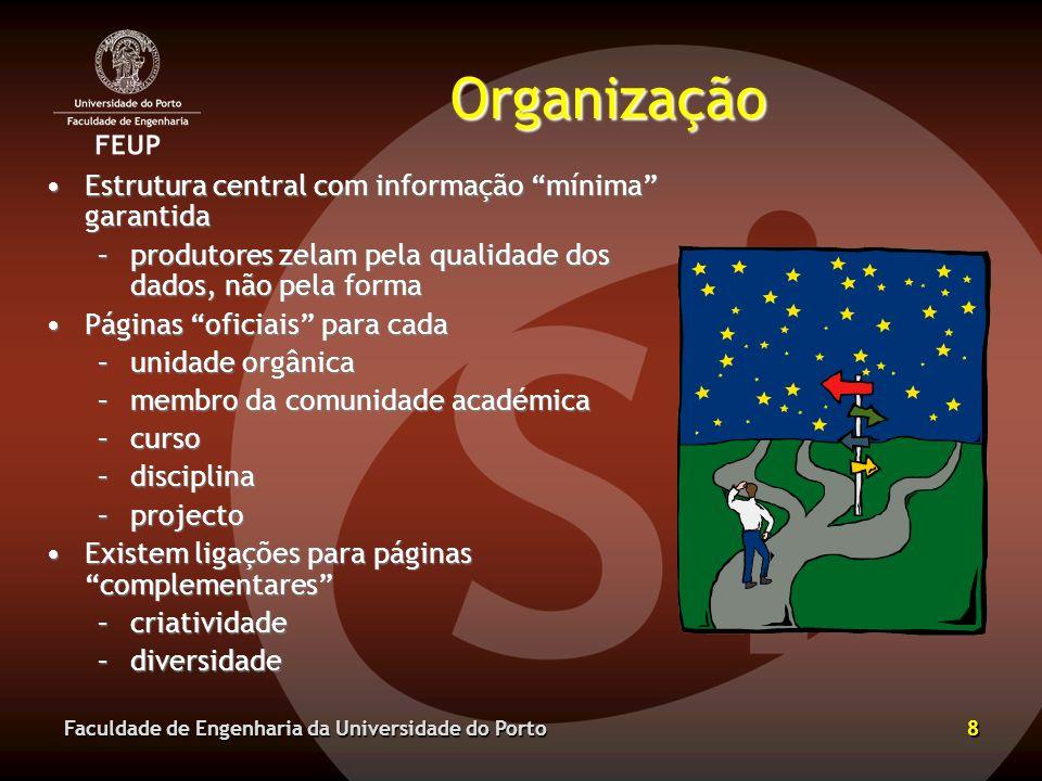 Organização Estrutura central com informação mínima garantida