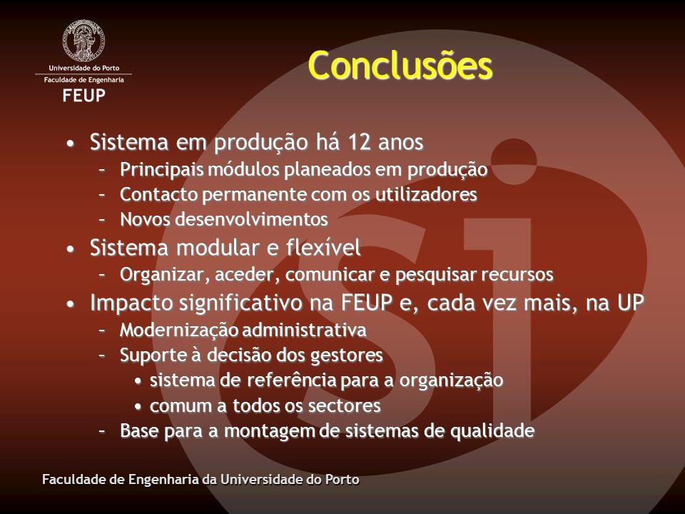 Conclusões Sistema em produção há 12 anos Sistema modular e flexível