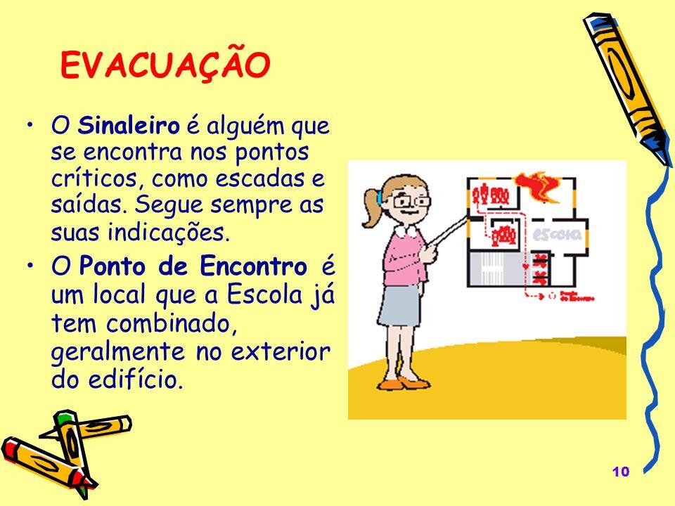 EVACUAÇÃO O Sinaleiro é alguém que se encontra nos pontos críticos, como escadas e saídas. Segue sempre as suas indicações.