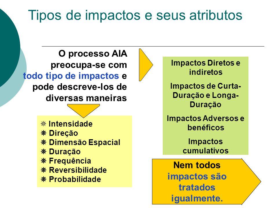 Tipos de impactos e seus atributos