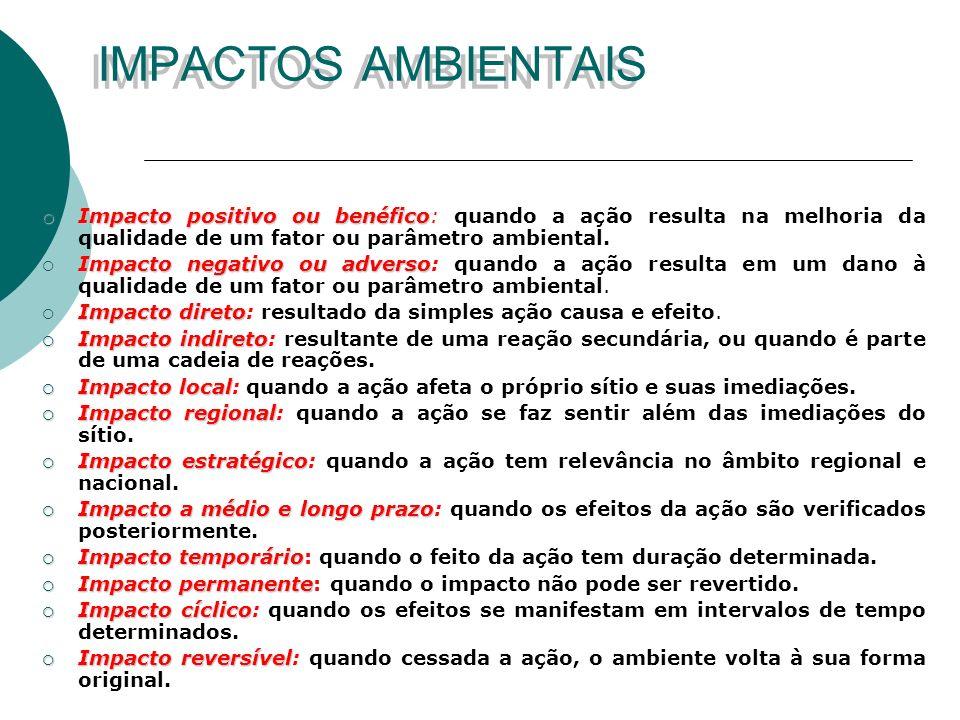 IMPACTOS AMBIENTAIS Impacto positivo ou benéfico: quando a ação resulta na melhoria da qualidade de um fator ou parâmetro ambiental.