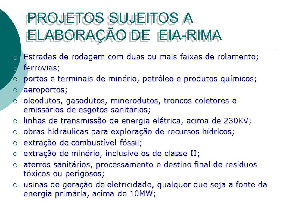 PROJETOS SUJEITOS A ELABORAÇÃO DE EIA-RIMA
