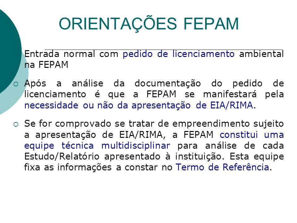 ORIENTAÇÕES FEPAM Entrada normal com pedido de licenciamento ambiental na FEPAM.