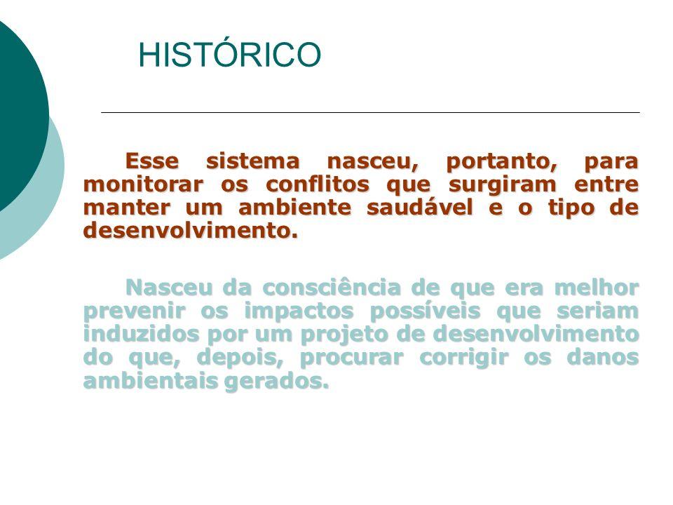 HISTÓRICO Esse sistema nasceu, portanto, para monitorar os conflitos que surgiram entre manter um ambiente saudável e o tipo de desenvolvimento.