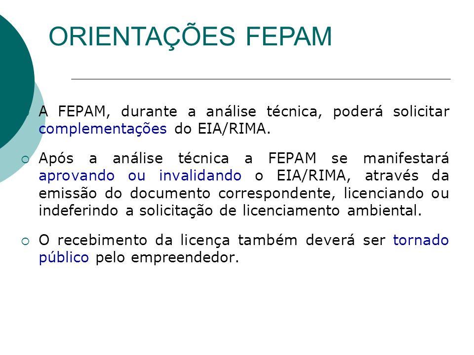ORIENTAÇÕES FEPAM A FEPAM, durante a análise técnica, poderá solicitar complementações do EIA/RIMA.