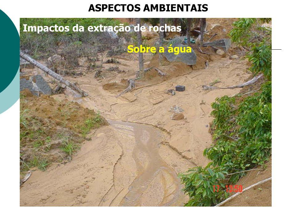 ASPECTOS AMBIENTAIS Impactos da extração de rochas Sobre a água