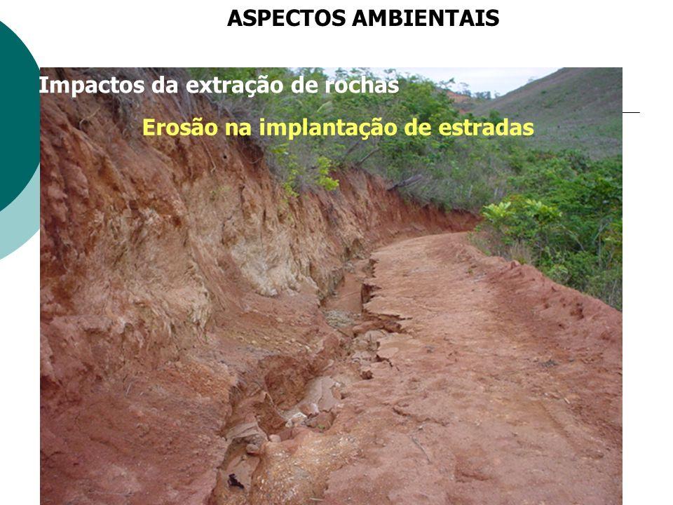 ASPECTOS AMBIENTAIS Impactos da extração de rochas Erosão na implantação de estradas